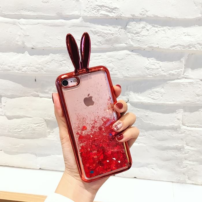 Cute 3D Bunny Kickstand Floating Hearts Liquid Waterfall Bling Glitter Case Cover For iPhone 7 4.7""
