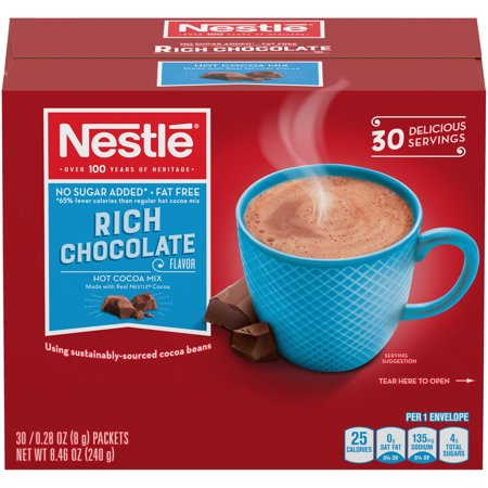 Nestlé No Sugar Added Rich Milk Chocolate Hot Cocoa 30 single serve packets - Snowman Hot Chocolate