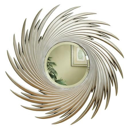 Coaster Company Round Mirror w/Spiral Design, Antique Silver Finish