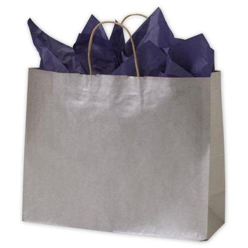 Bags & Bows by Deluxe 15-160612-7 Silver Metallic on Kraft Shoppers - Case of 250