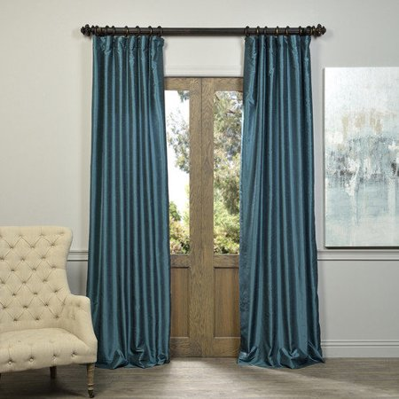 Peacock Vintage Textured Faux Dupioni Silk Single Panel Curtain, 50 X 108