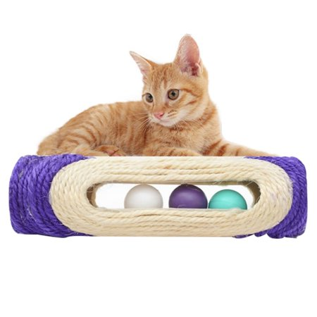 Cat Scratch Board Training Toy Pet Supplies Cat Rack Rolling Sisal Scratching Trapped Ball with Three Balls, Random Color Delivery
