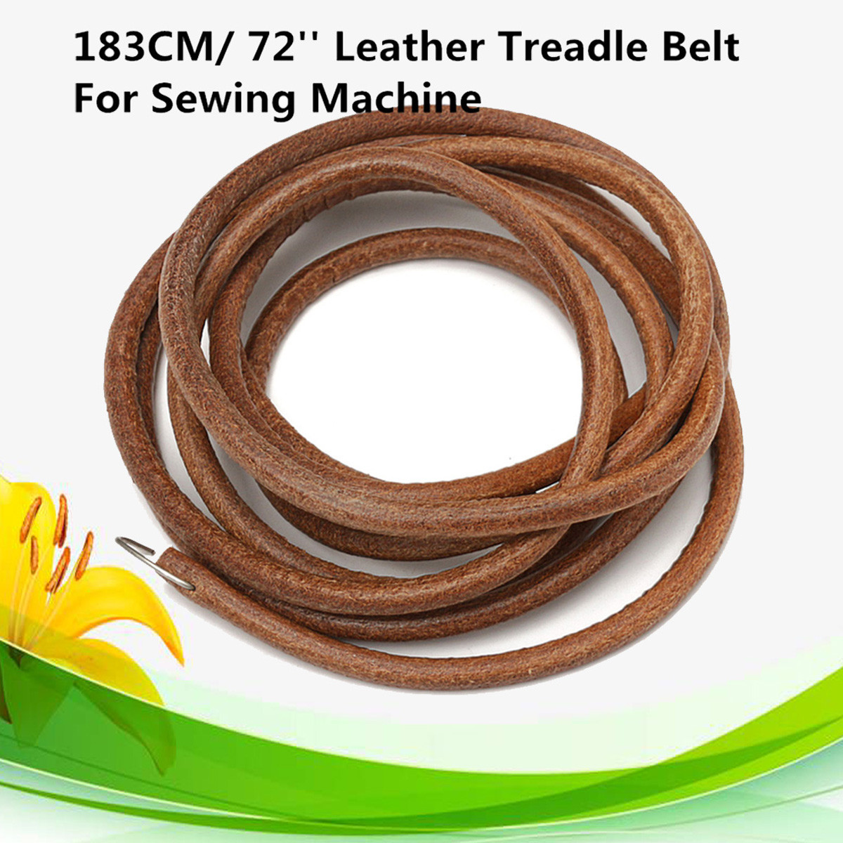 "72"" Leather Belt Treadle Parts With Hook For Singer Sewing Machine 3/16"" Diameter"