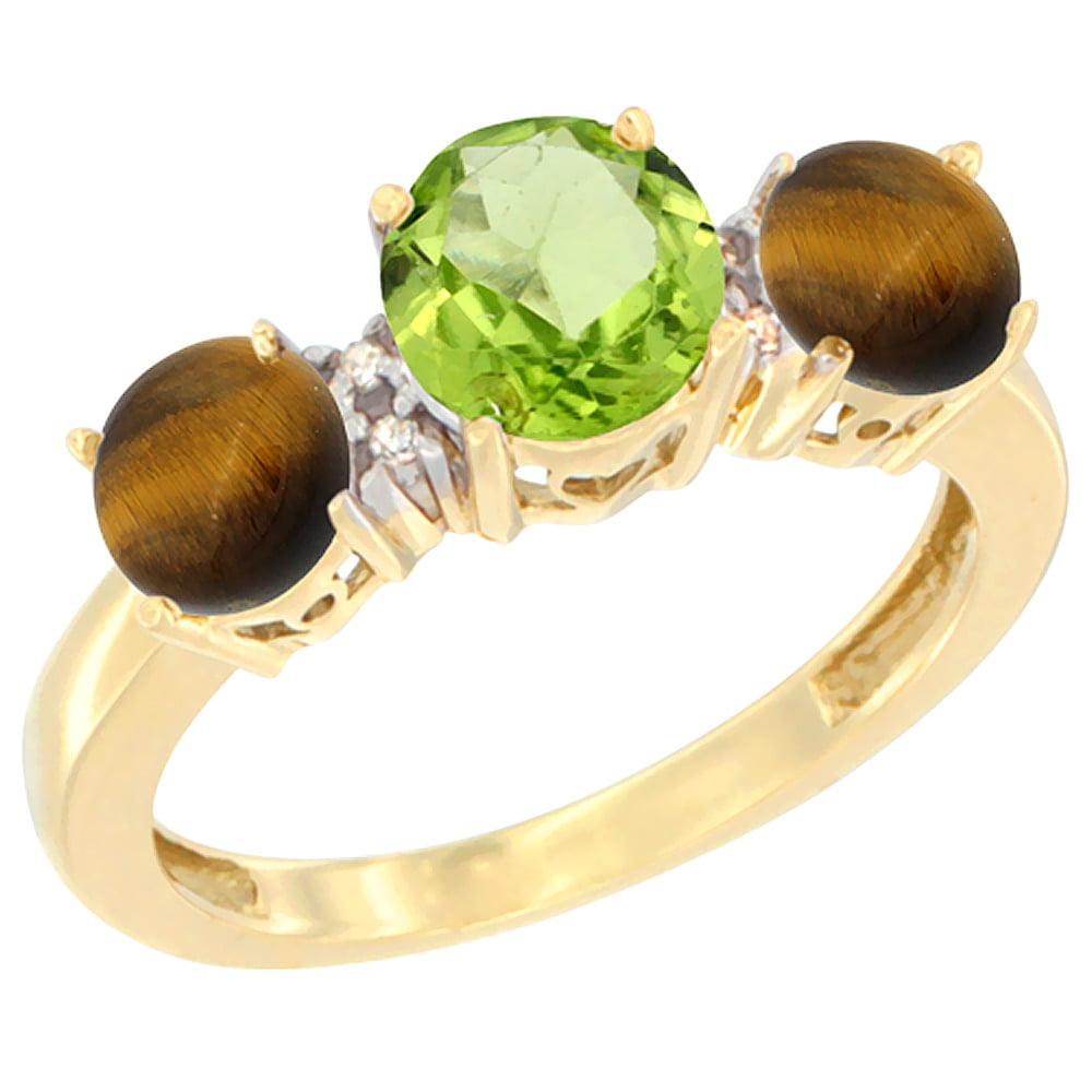 10K Yellow Gold Round 3-Stone Natural Peridot Ring & Tiger Eye Sides Diamond Accent, sizes 5 10 by WorldJewels