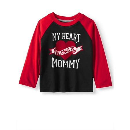 Valentine's Day Long Sleeve Raglan Graphic T-shirt (Toddler Boys)