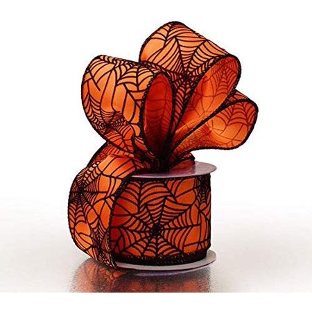 Halloween Spider Web Wired Ribbon - 2 1/2