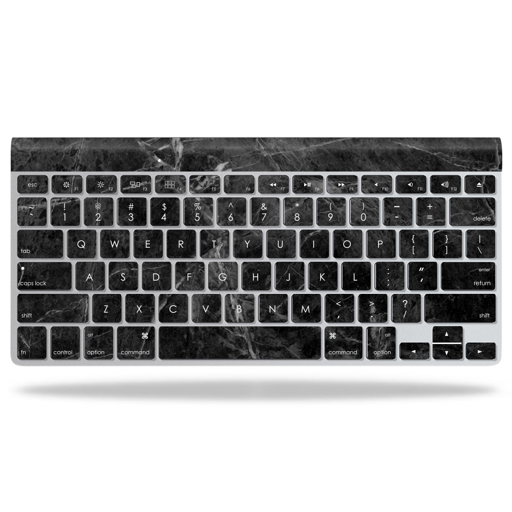 MightySkins Protective Vinyl Skin Decal for Apple Wireless Keyboard wrap cover sticker skins Black Marble