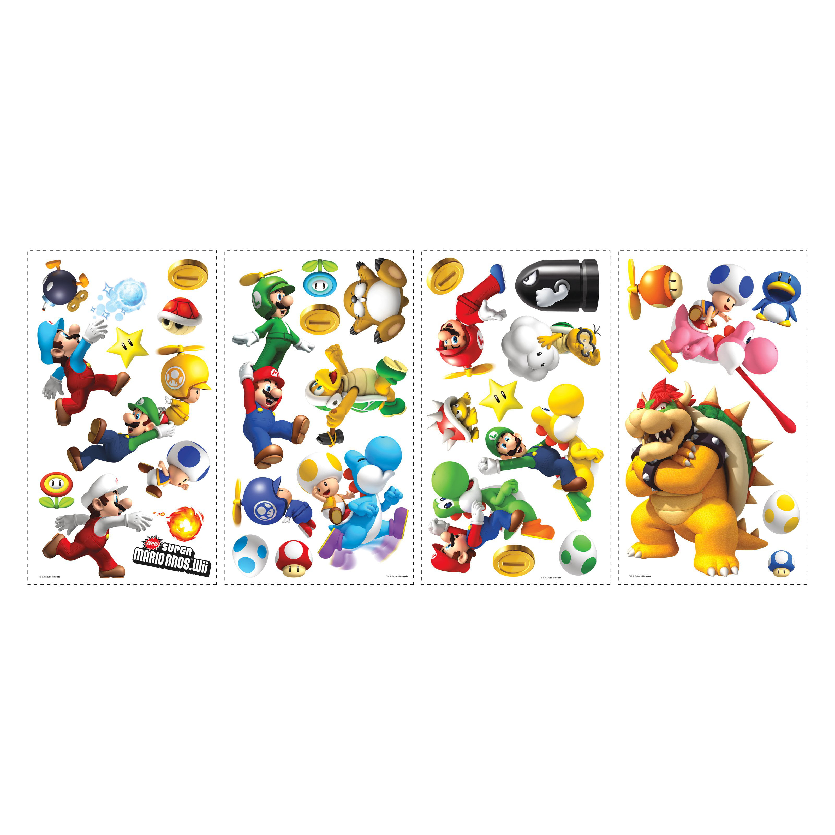 Nintendo - Super Mario Bros. Wii Peel and Stick Wall Decals - Walmart.com