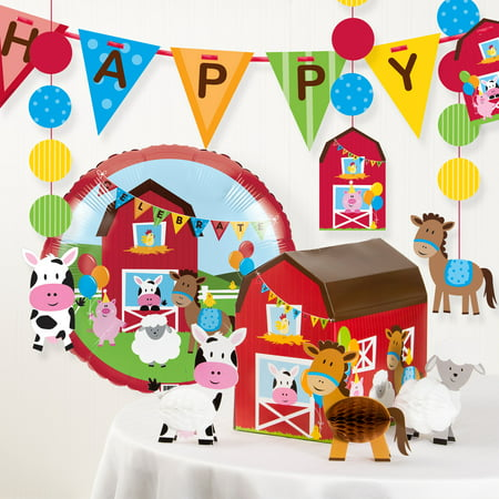 Farm Fun Birthday Party Decorations Kit for $<!---->