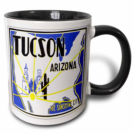 Party City Tucson Arizona (3dRose Tucson Arizona The Sunshine City Vintage Luggage Label - Two Tone Black Mug,)