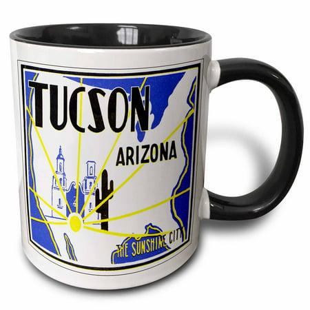 3dRose Tucson Arizona The Sunshine City Vintage Luggage Label - Two Tone Black Mug, 11-ounce - Party City Towson