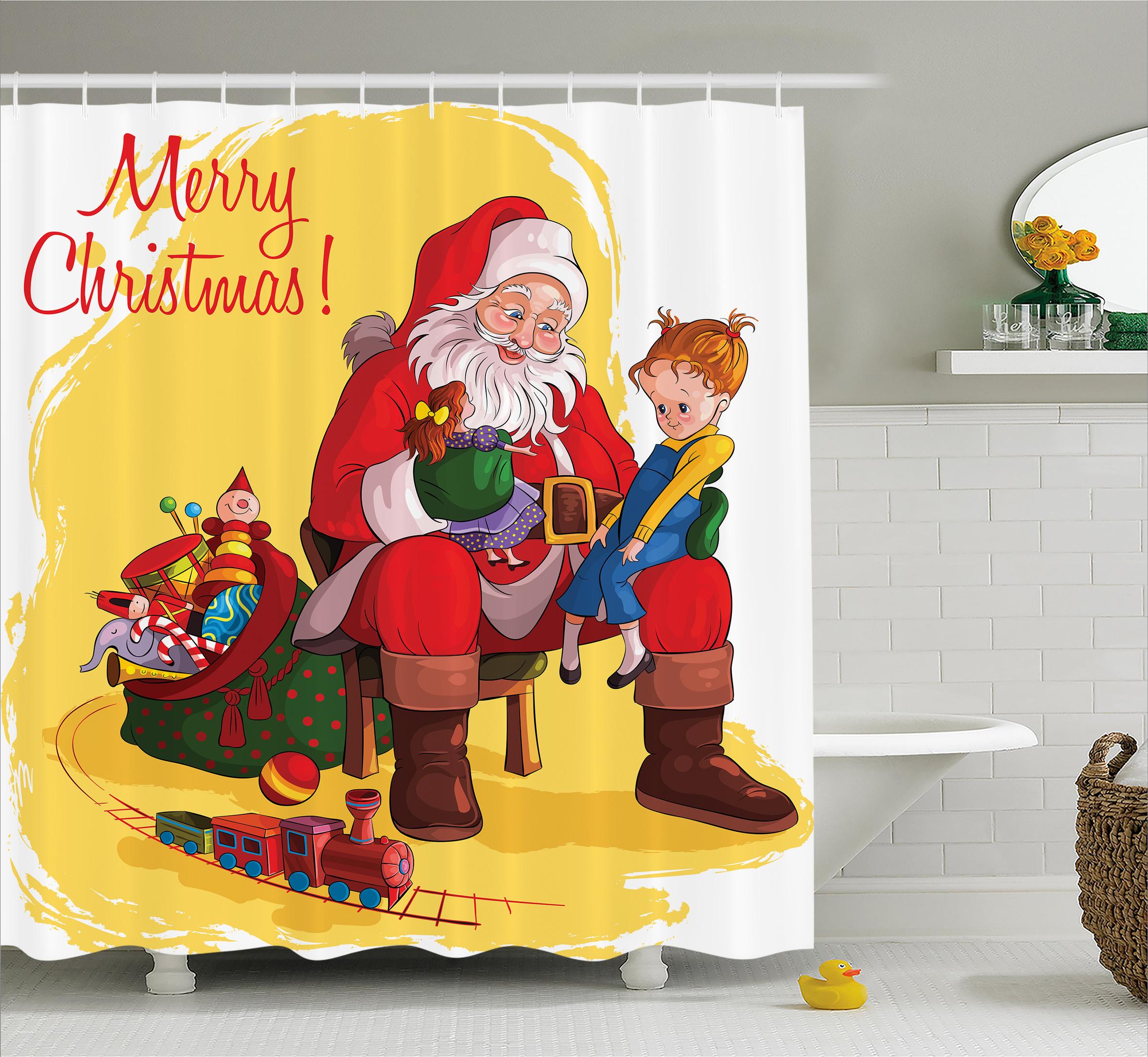 Christmas Shower Curtain Set, Little Child Sitting on San...