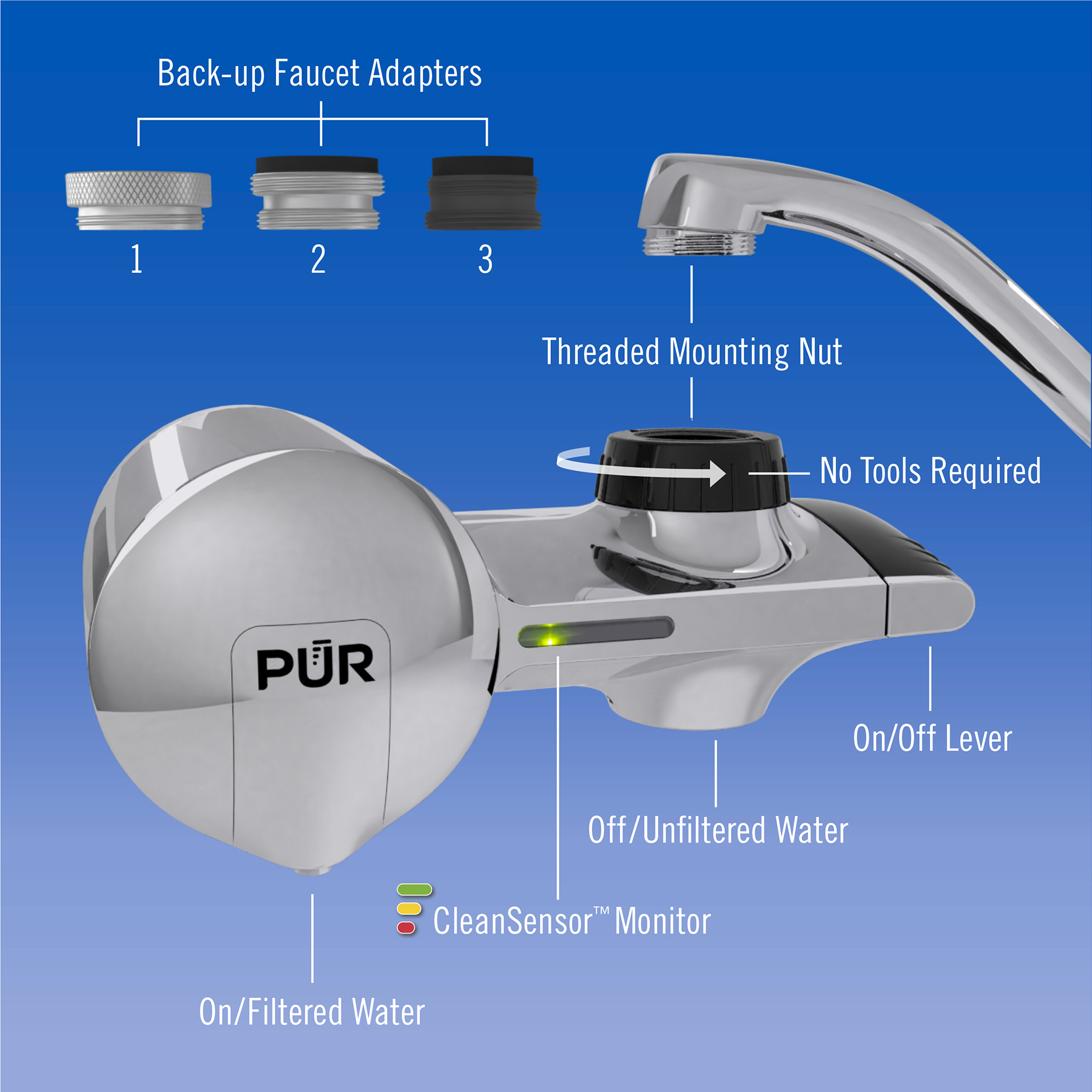 PUR Faucet Mount Water Filter System PFM400H, Chrome