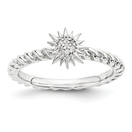 Sterling Silver Stackable .035 Ctw I3 H-I Diamond 7mm Star Ring](Silver Diamond)