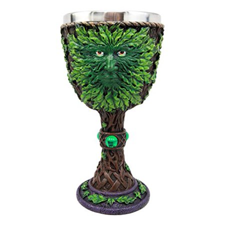 Ebros Gift Large Mythical Greenman Deity Of Rebirth Wine Goblet Chalice Cup Figurine 8oz Medieval Themed Party - Wine Themed Party