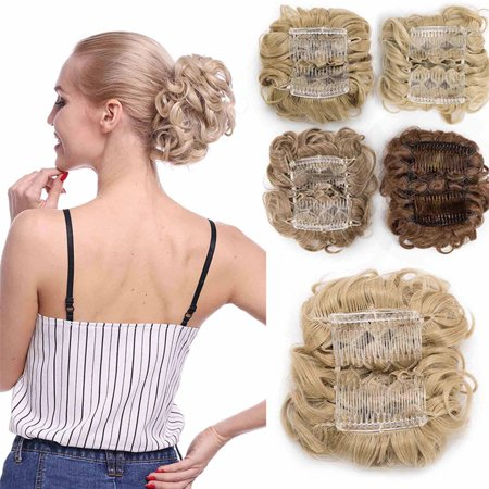 S-noilite Scrunchy Updo Combs Clip in Bun Claw Jaw on Donut Hairpiece Drawstring Wrap Around Straight Messy Wavy Chignons Sandy Blonde & Bleach Blonde,90g