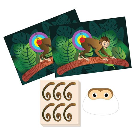 Baby 1 Birthday Party Theme (Pin The Tail on The Monkey Birthday Game - Jungle Theme Party Supplies, Zoo Party Favors, Fun for All Ages, 2 Game Posters, 1 Blindfold Mask, 5 Sheets, 30 Tail)