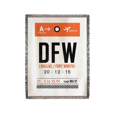 Dallas, Texas - DFW - Luggage Tag - Lantern Press Artwork (60x80 Woven Chenille Yarn Blanket)