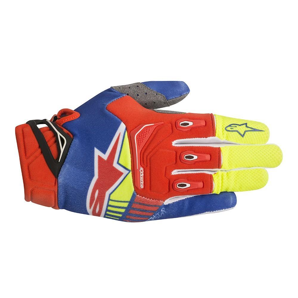 Alpinestars Techstar Gloves Yellow Fluo/Orange Fluo/Blue (Yellow, Small)