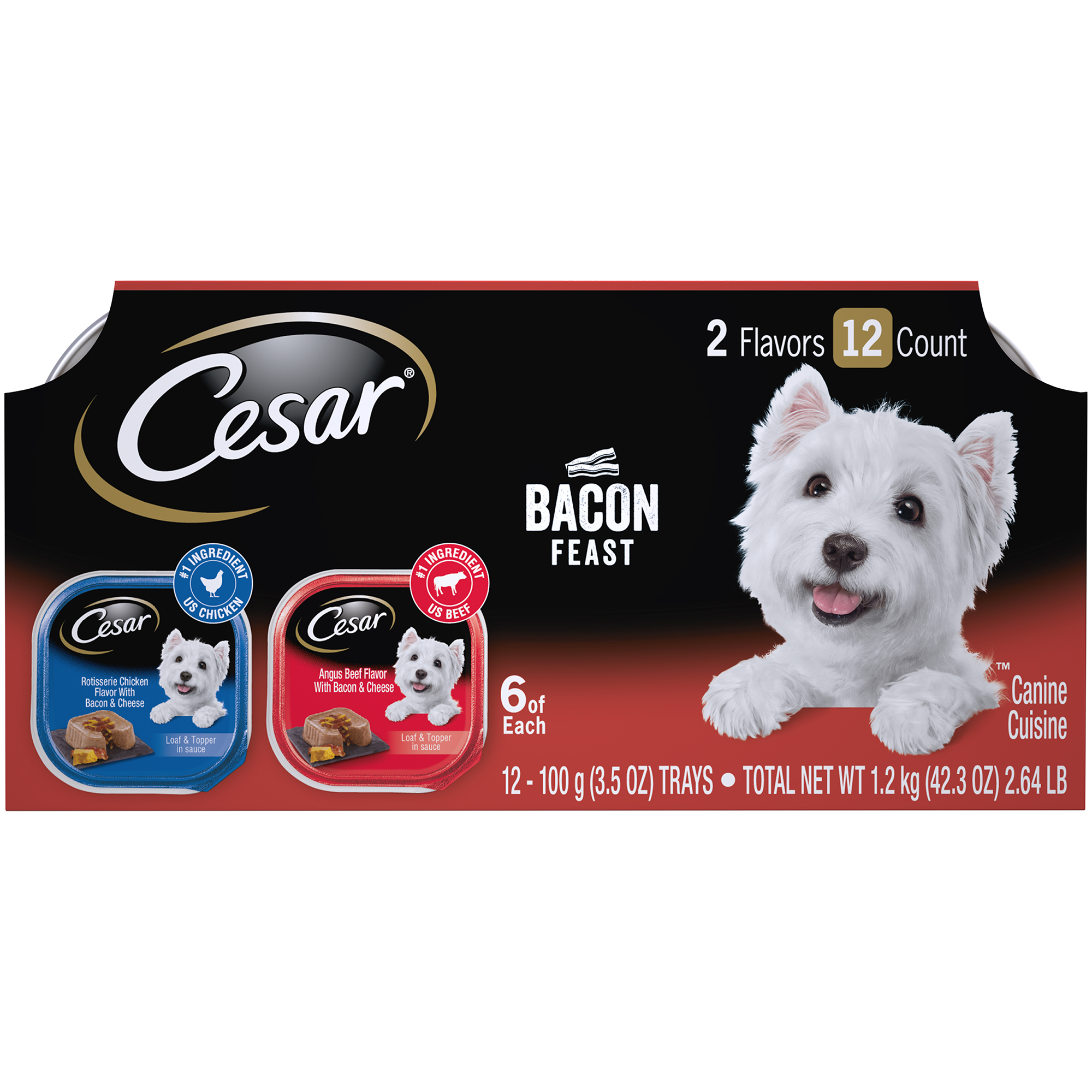 Cesar Wet Dog Food Loaf & Topper in Sauce Bacon Feast Variety Pack, (12) 3.5 oz. Trays