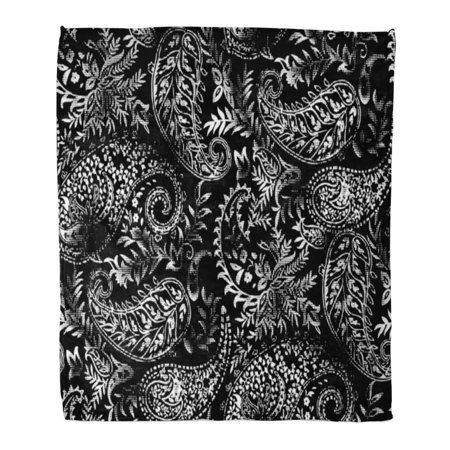 SIDONKU Throw Blanket Warm Cozy Print Flannel Pattern Black and White Paisley Floral Flower Comfortable Soft for Bed Sofa and Couch 58x80 Inches (Black Paisley Printed)