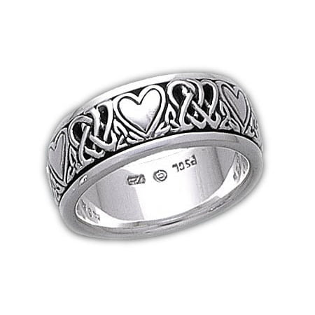 Sterling Silver Celtic Heart Knot Spinner Ring