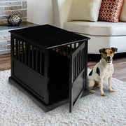 Wooden Pet Crate End Table, Black
