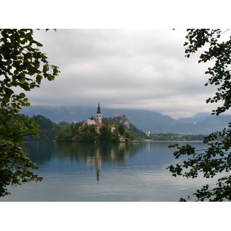 Peel-n-Stick Poster of Church Bled Castle Slovenia Lake Poster 24x16 Adhesive Sticker Poster Print