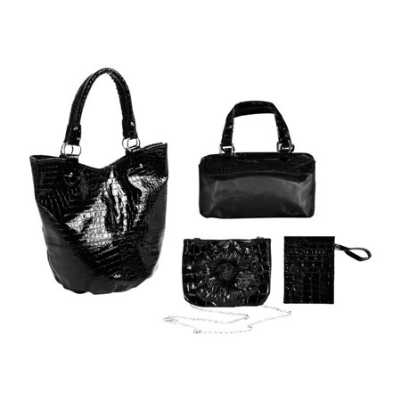 Adria Croco Embossed Faux Leather 4 Piece Tote Set - Black ()