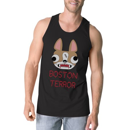 Boston Terror Terrier Halloween Tank Top For Men Black Cotton Tanks - Halloween Boston Uk