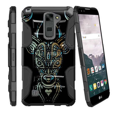 LG Stylus 2 LS775, LG G Stylo 2 Miniturtle® Clip Armor Dual Layer Case Rugged Exterior with Built in Kickstand + Holster - Blue and Gold Deer