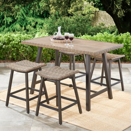 Better Homes & Gardens Westcliffe 5-Piece Patio Wicker Bar-Height Dining Set ()