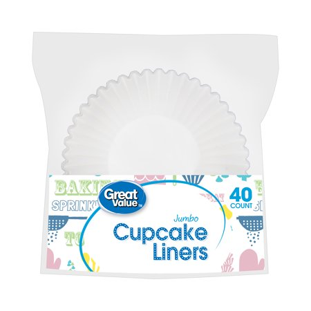 Great Value Jumbo Cupcake Liners, White, 40 Count