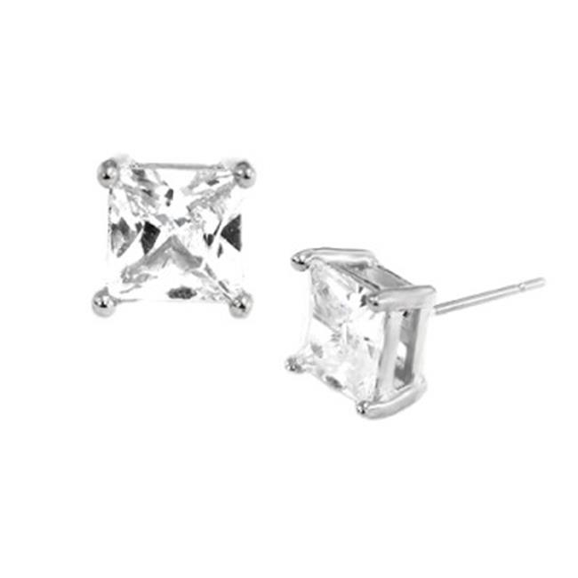 C Jewelry Rod 70 mm. Simple Square Clear Glass Crystal Silver Earrings, Size 7