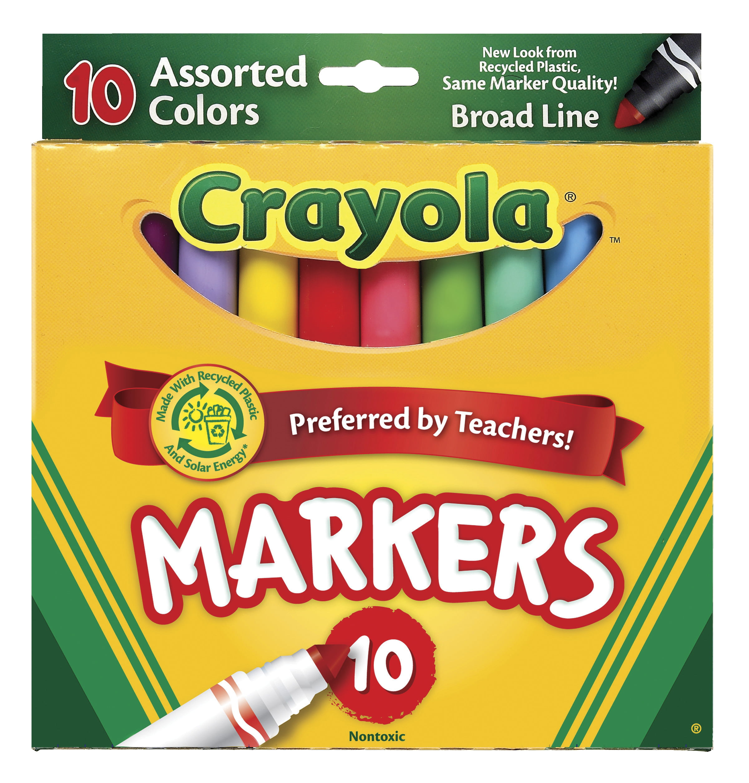 Crayola Original Broad Line Markers, Assorted Bright and Bold Colors, Set of 10 by Crayola LLC