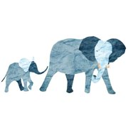 My Wonderful Walls 2 Piece Elephant and Baby Wall Decal Set