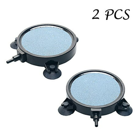 2 PCS Pawfly 4-Inch Air Stone Disc Bubble Diffuser with Suction Cups for Hydroponics Aquarium Fish Tank Pump