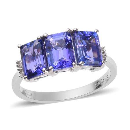 RHAPSODY 950 Platinum AAAA Premium Blue Tanzanite Diamond Baguette Ring Jewelry for Women Ct 2.8 E-F Color VS1-VS2