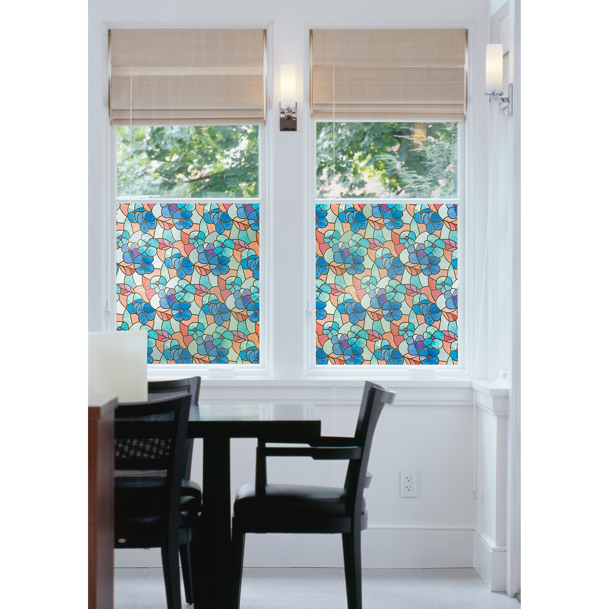 Brewster Pansies Blue Static Cling Window Film