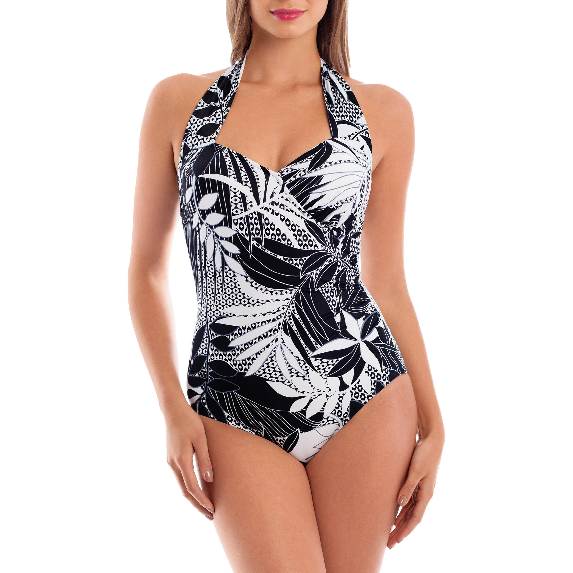 Suddenly Slim by Catalina Women's Slimming Side-Ruched One-Piece Swimsuit