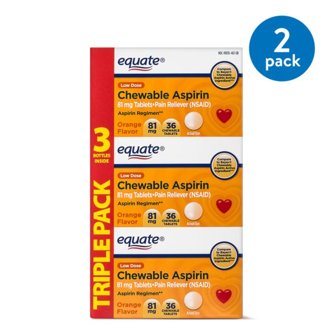 (2 Pack) Equate Low Dose Aspirin Orange Chewables, 81 mg, 36 Ct, 3 Pk