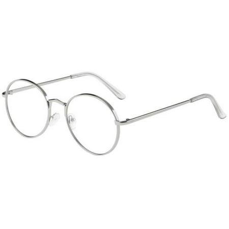 Mens Womens Fashion Round Retro Metal Frame Clear Lens Eye Glasses (Round Glasses Transparent)