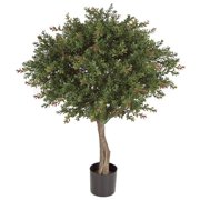 Autograph Foliages AUV-145220 33 in. WinterGreen Boxwod Topiary, Green & Red