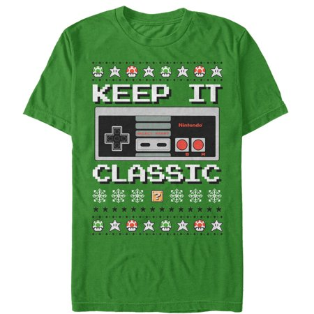 Nintendo Men's Ugly Christmas Sweater NES Classic Controller T-Shirt - Classic Christmas Sweaters