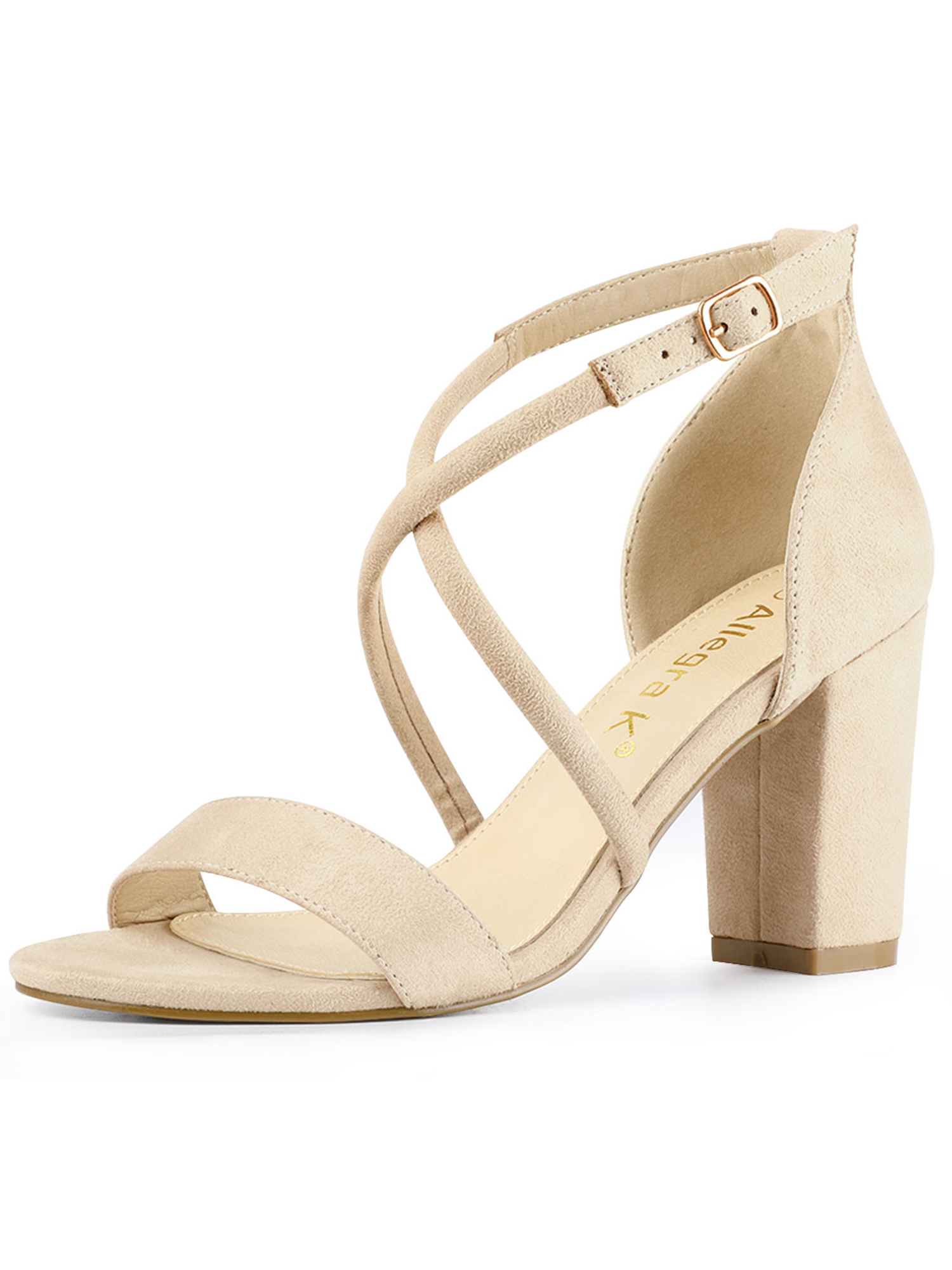 Women's Crisscross Ankle Strap Block Heel Beige Sandals - 10 M US