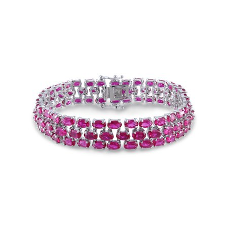 37 Carat T.G.W. Created Ruby Sterling Silver Triple Row Tennis Bracelet, (Created Ruby Tennis Bracelet)
