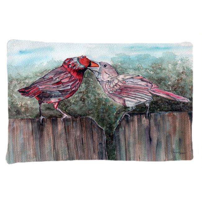 Red Bird Feeding Fabric Standard Pillowcase - image 1 de 1