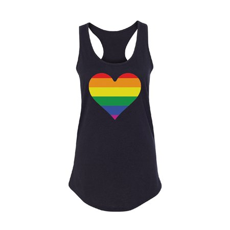Rainbow Heart Flag Women's Racerback Gay Pride Walk LGBT Shirt Black Small - Rainbow Tube Top