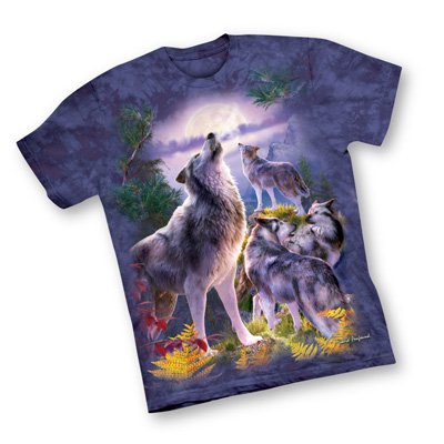 Wolfpack Howling Full Moon T-Shirt, Purple, Medium ()