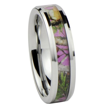 Women's Camo Hunting Camouflage Wedding Band Ring Pink/Rose/Green 6mm Tungsten Carbide](Orange Camo Wedding Rings)